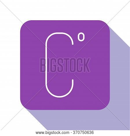 White Line Celsius Icon Isolated On White Background. Purple Square Button. Vector Illustration