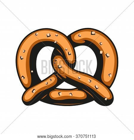 Colorful Salty Pretzel In Vintage Style Isolated Vector Illustration