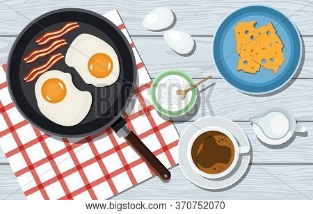 Tasty Breakfast On A Wooden Table In Vector. Omelet With Bacon, Cheese And Coffee. Woman Kneads The