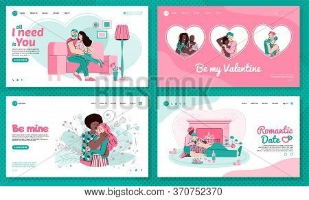 A Landing Page Template With People Who Love And Hug Each Other. Lovers Celebrate Valentine S Day Or