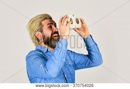 Guy With Funny Binoculars. Online Shop. Buy Essential Goods. Strategic Toilet Paper Stock. Use Calcu