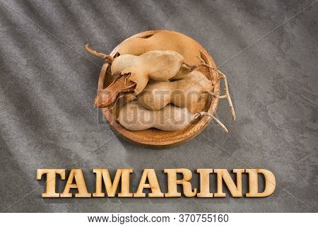Tamarind Tropical Fruit - Tamarindus Indica. Text Space