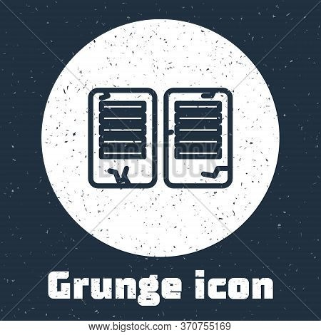 Grunge Line The Commandments Icon Isolated On Grey Background. Gods Law Concept. Monochrome Vintage