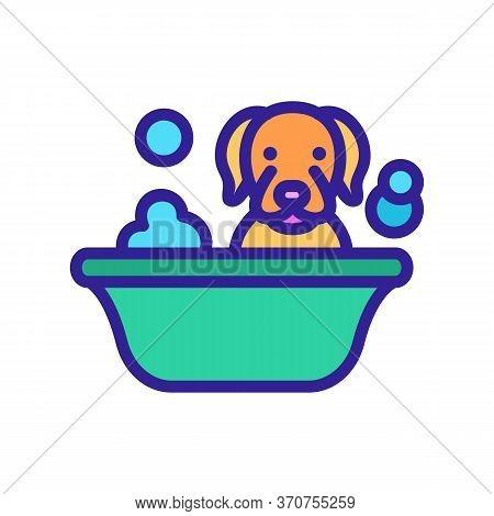 Dog Washing In Bathtub Icon Vector. Dog Washing In Bathtub Sign. Isolated Color Symbol Illustration