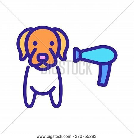 Dog Hair Dryer Icon Vector. Dog Hair Dryer Sign. Isolated Color Symbol Illustration