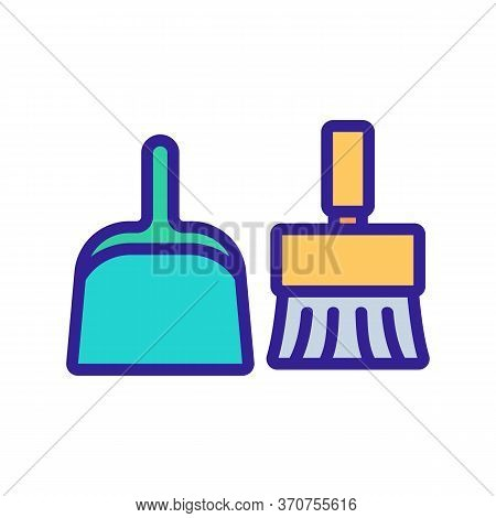 Dustpan And Brush For Sweep Dust Icon Vector. Dustpan And Brush For Sweep Dust Sign. Isolated Color