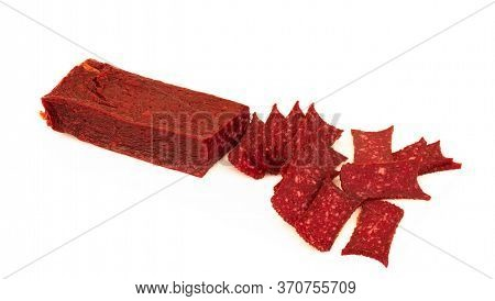 Stick Sausage, Wurst, Slice, Salami, Ham Sliced. Isolated On White Background.
