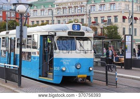 Gothenburg, Sweden - August 26, 2018: Blue Tram With Learner Marking In Gothenburg, Sweden. Gothenbu