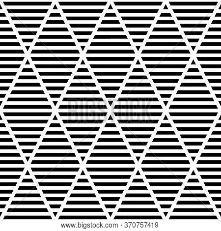Black Striped Rhombuses On White Background. Strokes Wallpaper. Seamless Surface Pattern Design With