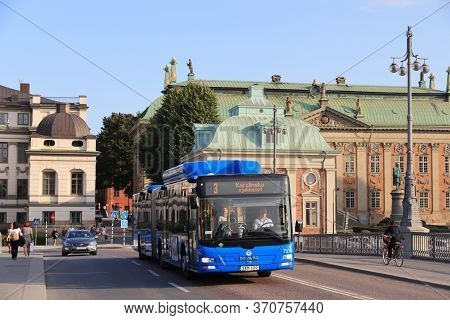Stockholm, Sweden - August 23, 2018: Man City Bus In Stockholm, Sweden. The Buses Are Operated By Sl