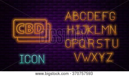 Glowing Neon Line Cannabis Molecule Icon Isolated On Brick Wall Background. Cannabidiol Molecular St