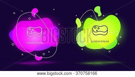 Line Sponge Icon Isolated On Black Background. Wisp Of Bast For Washing Dishes. Cleaning Service Con