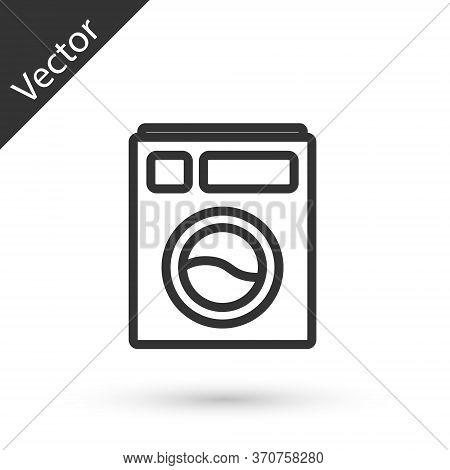 Grey Line Washer Icon Isolated On White Background. Washing Machine Icon. Clothes Washer - Laundry M