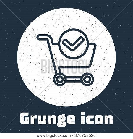 Grunge Line Shopping Cart With Check Mark Icon Isolated On Grey Background. Supermarket Basket With
