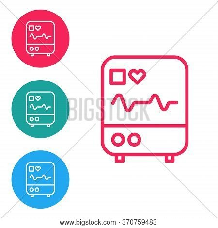 Red Line Computer Monitor With Cardiogram Icon Isolated On White Background. Monitoring Icon. Ecg Mo