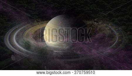 Planet Saturn In Clubs Of Plasma Clouds In Outer Space. It Is The Sixth Planet From The Sun And The