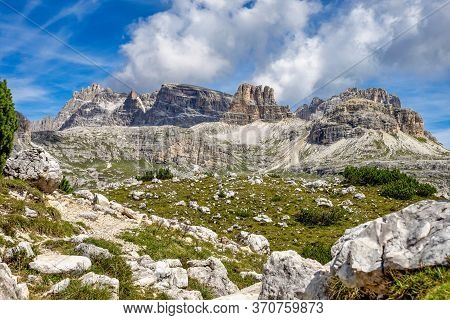 View From The Tre Cime Di Lavaredo, The Three Peaks Of Lavaredo, In The Sexten Dolomites Of Northeas