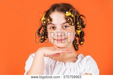 Looks Perfect. Happy Girl In Hair Curlers Playing Hairdresser Salon. Easy Tips Making Hairstyle For