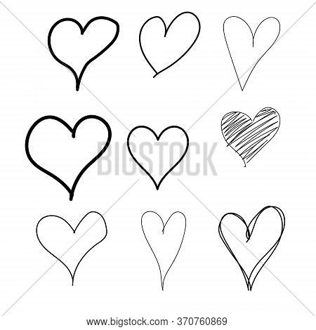Set Of Nine Hand Drawn Heart. Hand Drawn Rough Marker Hearts Isolated On White Background. Vector Fo