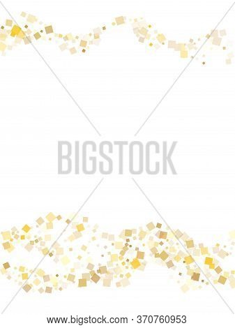 Yellow Gold Confetti Sequins Sparkles Flying On White. Chic New Year Vector Sequins Background. Gold