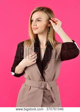Another Client. Wear Trendy Color Only. Woman In Classy Elegant Jacket. Businesswoman Wear Formal Su