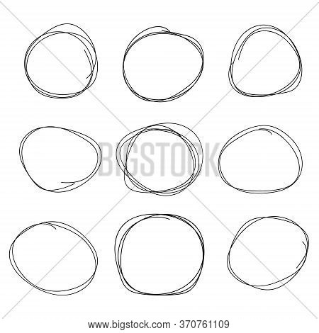 Hand Drawn Circle Line Sketch Set. Vector Circular Scribble Doodle Round Circles For Message Note Ma