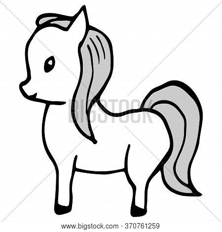 Hand Drawn Horse (pony). Cartoon Color Horse Outline Doodle Style. Vector Transparent Illustration I