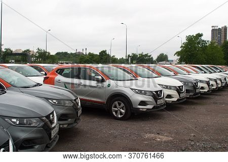 Saint Petersburg, Russia - June 06, 2020: Nissan Qashqai Carsharing Company Youdrive Cars Parked In