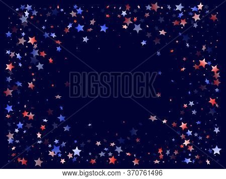 American Memorial Day Stars Background. Holiday Confetti In Us Flag Colors For Patriot Day. Vivid Re