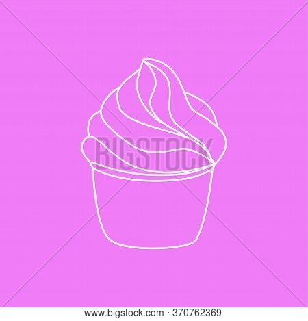 Cupcake Pastry Isolated Icon. Line Art Style Creamy Dessert Isolated On Pink Background. Bakery Desi