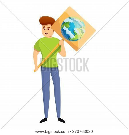 Ecologist Boy Protest Icon. Cartoon Of Ecologist Boy Protest Vector Icon For Web Design Isolated On