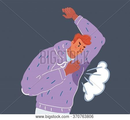 Vector Illustration Of Man With Hyperhidrosis Sweating Very Badly Under Armpit In Blue Shirt