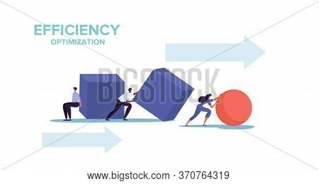 Smart Business And Efficiency Concept With Two Businessmen Struggling To Push Cubes While A Business