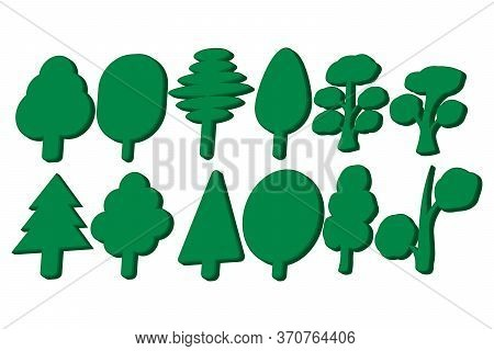 A Set Of Three-dimensional Images In The Form Of Abstract Tree Icons. Vector Illustration.