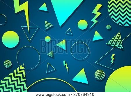 A Green, Turquoise And Cyan Retro Vaporwave 90's Style Random Geometric Shapes With Vibrant Neon Col