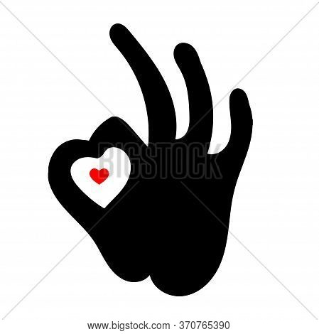 Perfectly Ok Hand Symbol Vector Graphics. Ok With The Heart. Silhouette Of The Hand Of The Ok Gestur
