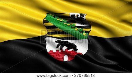 Flag of Saxony-Anhalt waving in the wind. 3D illustration.