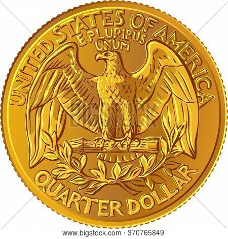American Money, United States Washington Quarter Dollar Or 25-cent Gold Coin, The National Bird Of U