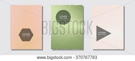 Halftone Flat Patterns Abstract Vector Set. Elegant Patchy Mockups. Halftone Lines Music Poster Back