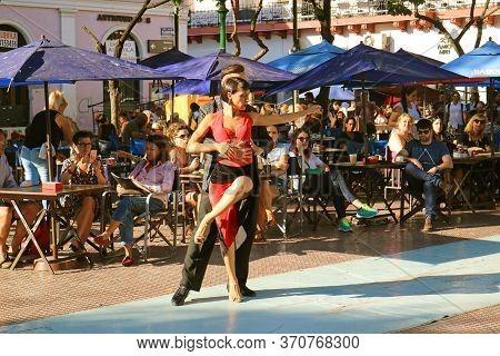 Fantastic Street Tango Dance At Plaza Dorrego Square In San Telmo, The Oldest Neighborhood In Buenos