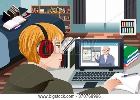 A Vector Illustration Of Student Learning Online At Home