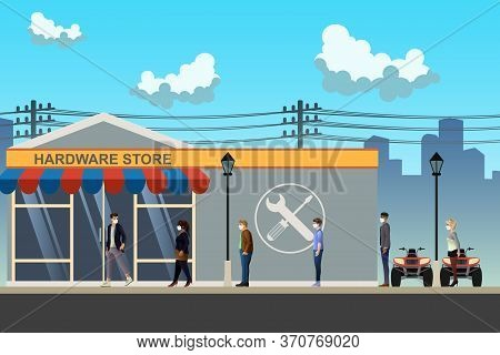 A Vector Illustration Of People Shopping Social Distancing At Store