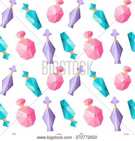 Seamless Pattern With Perfume Bottles, Repeating Background With Fragrance, Repeated Ornament, Flat