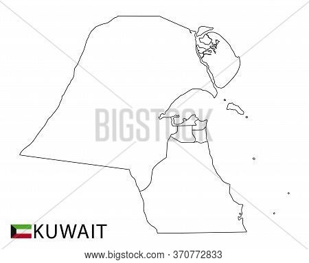 Kuwait Map, Black And White Detailed Outline Regions Of The Country.