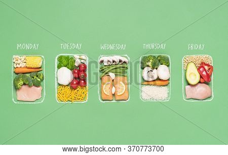 Weekly Meal Preparation Concept With Raw Food Ingredients In Chalk-drawn Lunch Boxes On Green Backgr