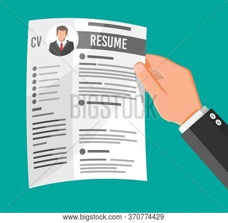 Hand Holding Job Application. Cv Papers Resume. Job Interview. Human Resources Management Concept, S
