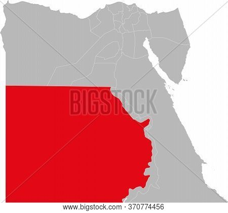 New Valley Governorate Highlighted On Egypt Map. Business Concepts And Backgrounds.