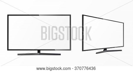 Flat Screen Of Tv Or Lcd Templates Set, Realistic Vector Illustration Isolated.