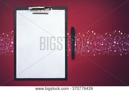 Brown Clipboard With Pen. Copy Space. Concept Of New Opportunities, Ideas, Undertakings, Innovations