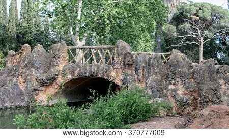 Wooden Stone Openwork In The Natural Park. Detail Of Ancient Spanish Architucture.